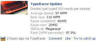 TypeRacer score on your Facebook wall