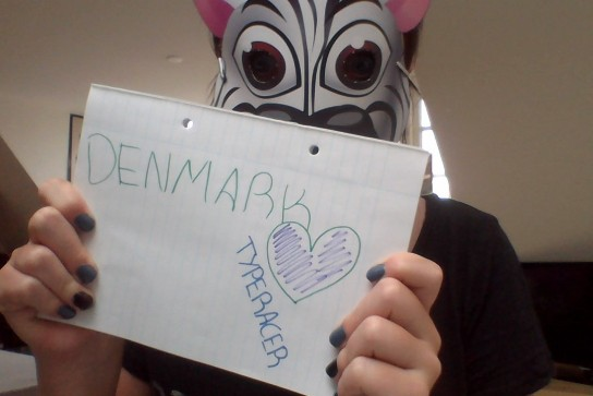 An anonymous... racer...loves Typeracer from Denmark!