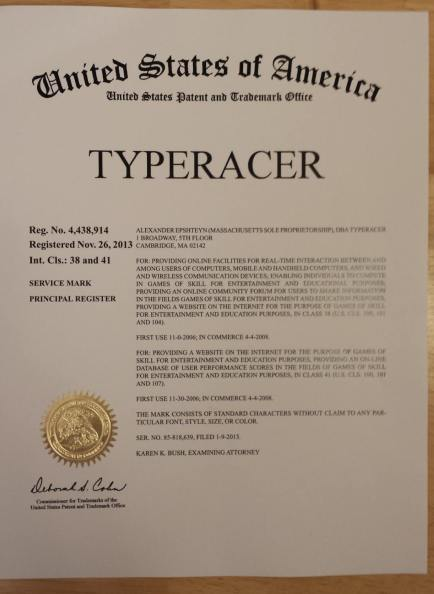 Typeracer's certificate from the United States Patent and Trademark Office