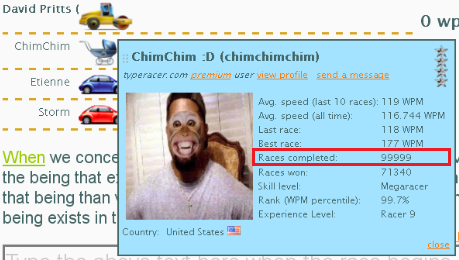 Chimchim's 100,000th race on Typeracer, on March 23rd, 2012