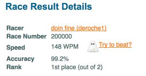 DeRoche1's 200,000th race